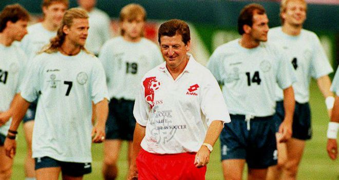 Roy Hodgson: With his Swiss squad at the 1994 World Cup, where his team progressed out of the groups