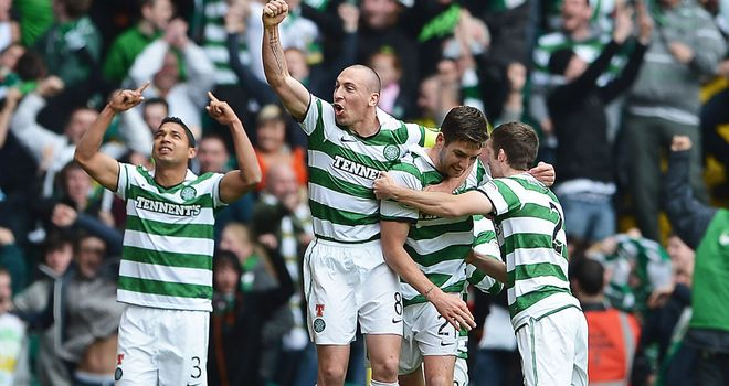 Mulgrew: Mobbed after scoring for Celtic