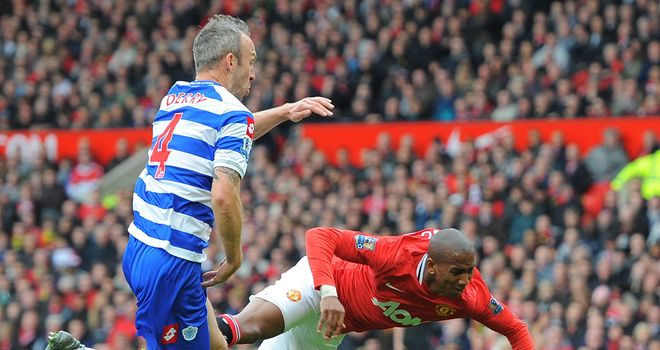 Shaun Derry is given his marching orders after being adjudged to have fouled Ashley Young