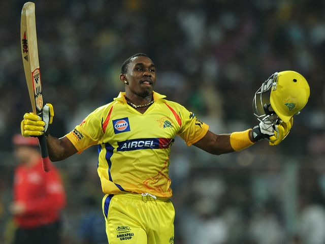 Dwayne Bravo celebrates his winning six