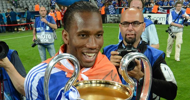 Drogba scored Chelsea's equaliser in the 2012 Champions League final then the winning penalty as they defeated Bayern Munich