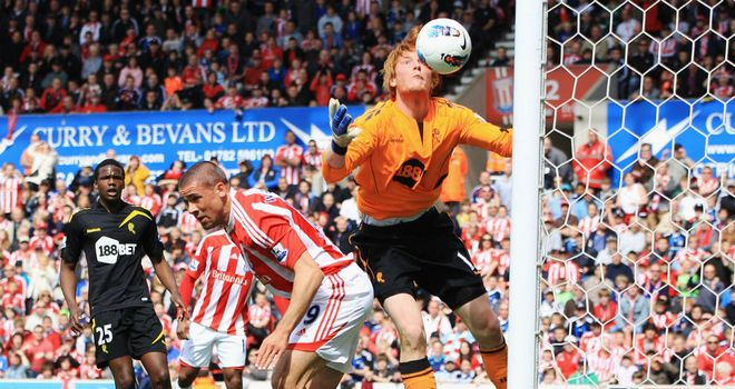 Controversial goal: Jon Walters put Stoke ahead after appearing to knock the ball out of Adam Bogdan's hands