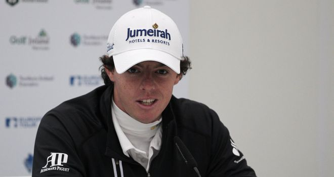 Rory McIlroy speaking in his press conference