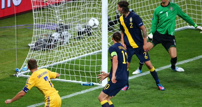 Zlatan Ibrahimovic watches on as Andriy Shevchenko heads home Ukraine's winner