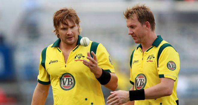 Tour over: Injured pair Shane Watson (left) and Brett Lee are going back to Australia before final one-dayer