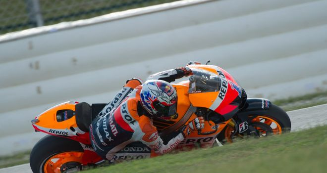 Casey Stoner: Recorded the fastest time in practice ahead of the British GP