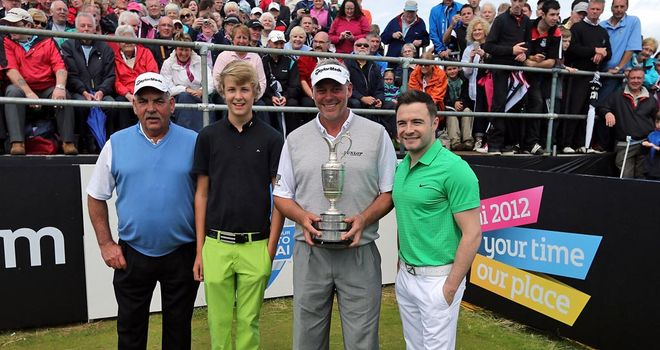 Darren Clarke with his father Godfrey, son Tyrone and Shane Filan out of Westlife