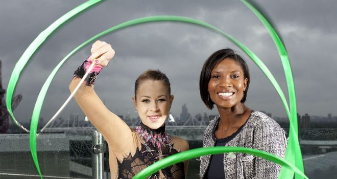 Olympic gold medallist Denise Lewis and London 2012 Olympic hopeful, rhythmic gymnast Frankie Jones