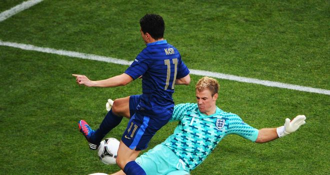 Opening stalemate: Joe Hart was beaten by Samir Nasri but England earned a draw