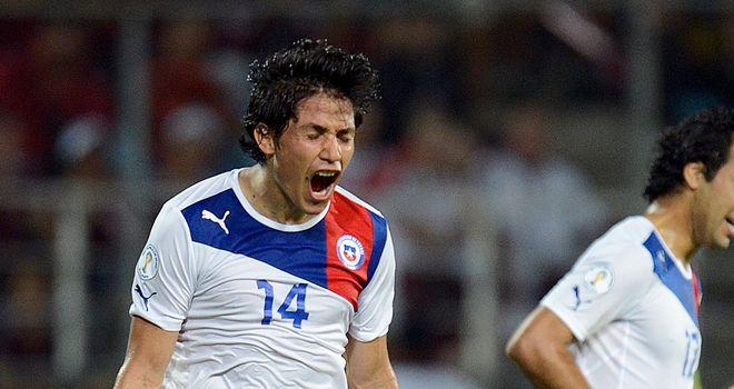 Matias Fernandez: Celebrates his goal in Venezuela