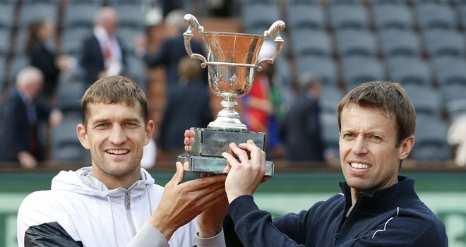 Max Mirnyi and Daniel Nestor celebrate their triumph