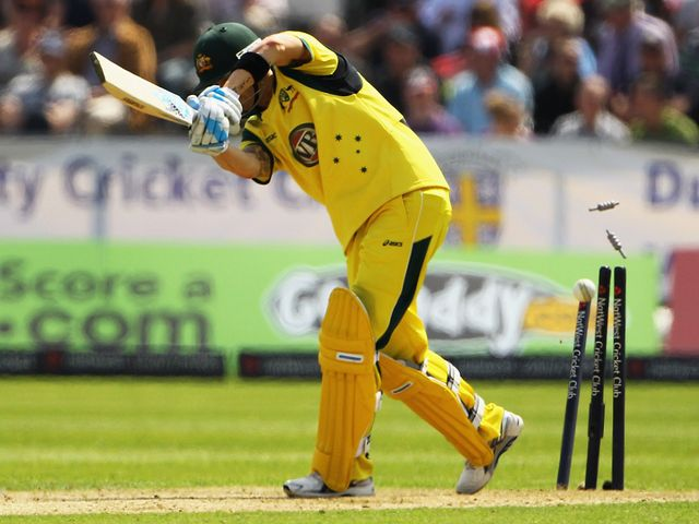 Michael Clarke is bowled by Finn