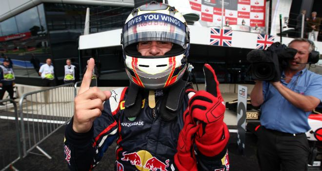 Antonio Felix da Costa: Celebrates his Silverstone win (IMage: GP3 Series Media)