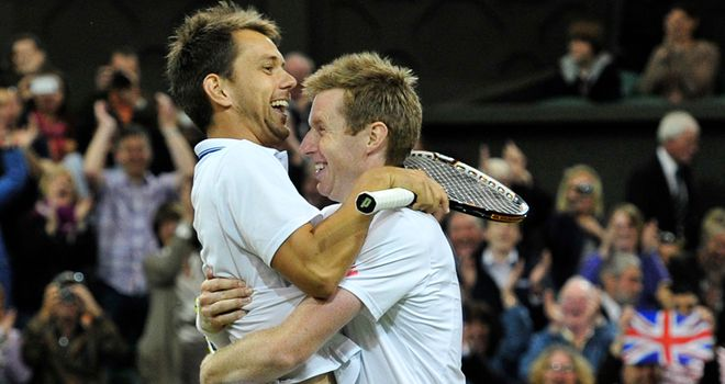 Jonny Marray and Freddie Nielsen celebrate Wimbledon title