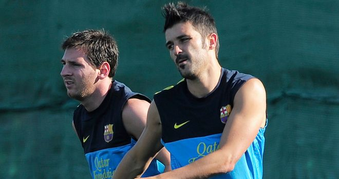 David Villa: Back on the pitch for Barcelona alongside Saturday's goalscorer Lionel Messi