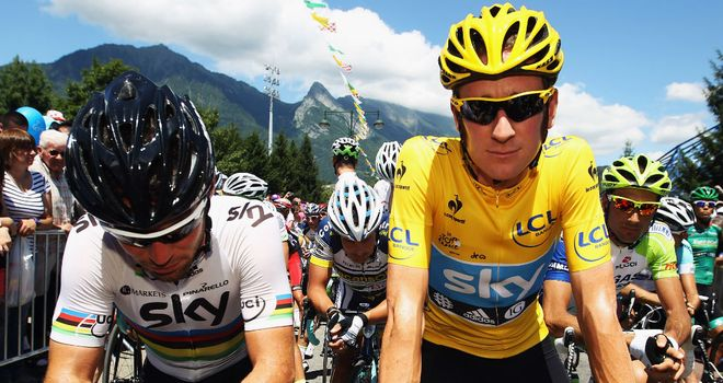 Mark Cavendish (L) and Bradley Wiggins: Team Sky star riders