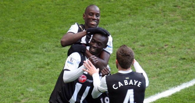 Demba Ba, Papiss Cisse and Yohan Cabaye: Newcastle trio will not feature against Maritimo
