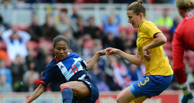 Rachel Yankey: Denied by the woodwork as Team GB drew with Sweden