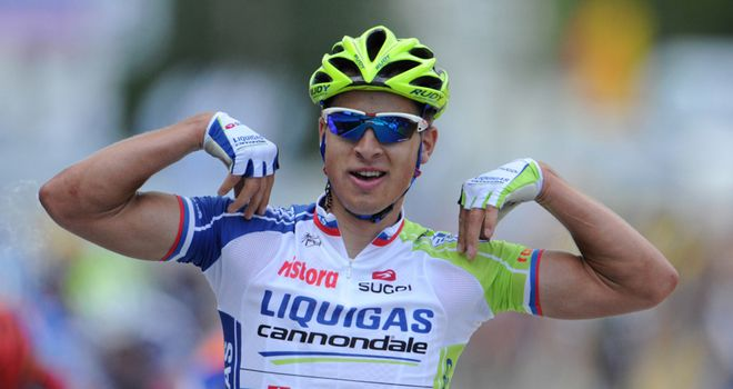 Peter Sagan: Celebrates his first stage win on what is his Tour de France debut