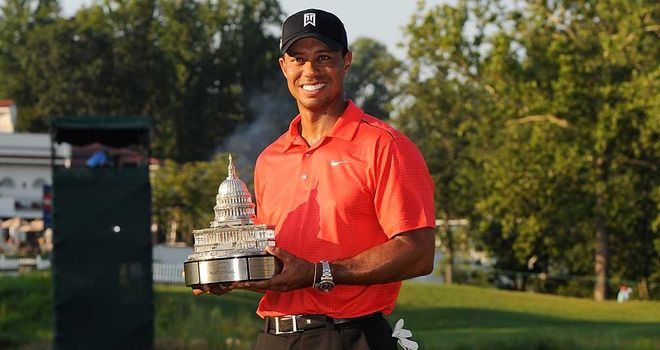 Three and easy: Woods won again last week to surpass Nicklaus' record of tournament wins
