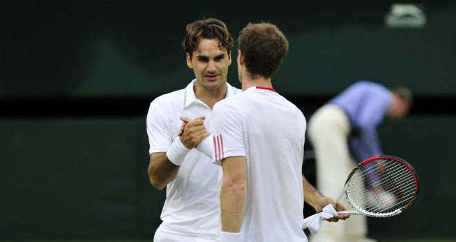 Handshake: Roger Federer saw off Andy Murray in four sets in Wimbledon final
