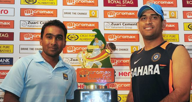 Captains: Mahela Jayawardene (left) and Mahendra Singh Dhoni