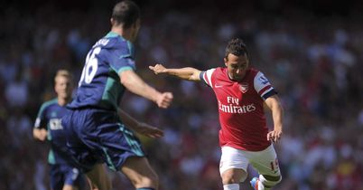 Cazorla: Unleases shot for Arsenal