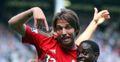 Michu: Celebrates goal for Swansea