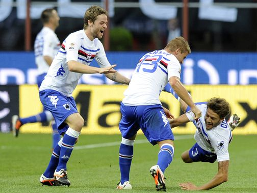 Sampdoria celebrate their shock winner