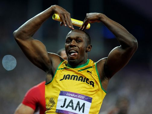 Bolt celebrates a third Olympic gold at London 2012