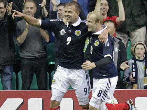 Jordan Rhodes celebrates his goal for Scotland