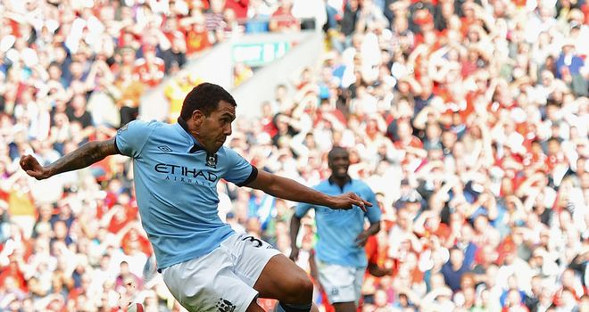 Carlos Tevez: On the mark for Manchester City at Liverpool