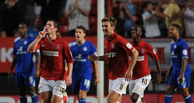 Kermorgant (l): Celebrates his goal for Charlton