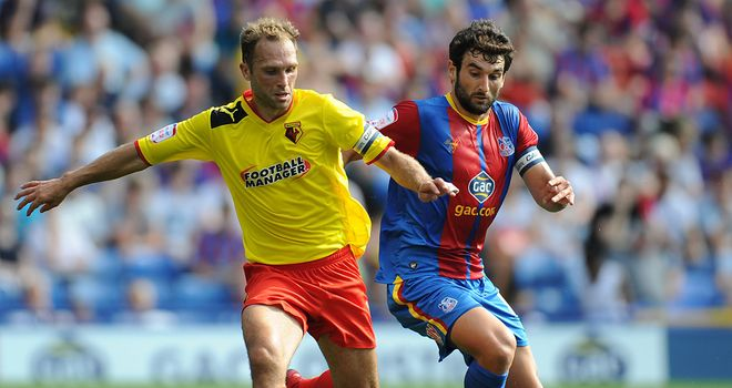 Eustace: Tries to hold off Jedinak