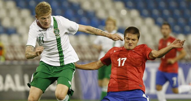 James McClean in action for Ireland against Serbia
