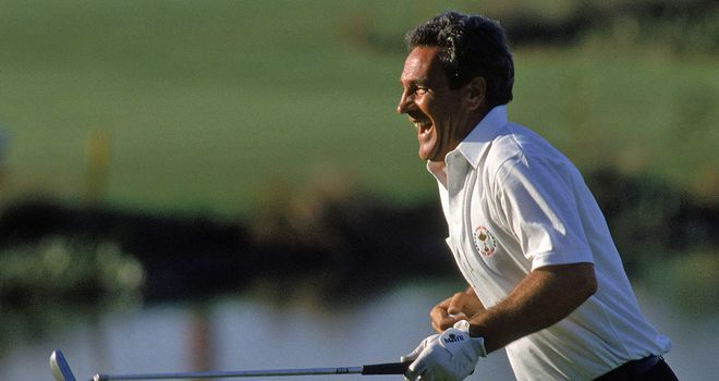 Jose Maria Canizares celebrates the putt that kept the trophy in European hands