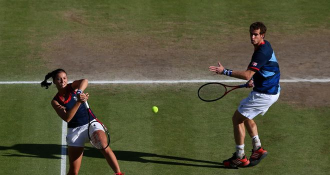Laura Robson (L) and Andy Murray (R) came up just short in their bid for mixed doubles gold