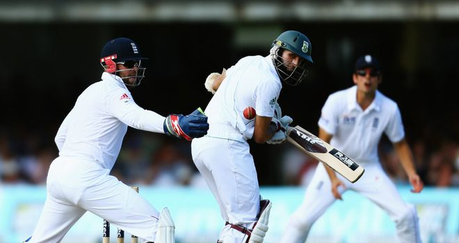 Amla: benefitted from Prior's drop on two at Lord's