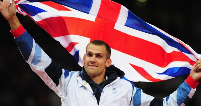 The 30-year-old celebrates his bronze medal in London 2012