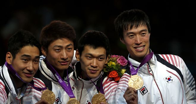 South Korea: Men's team sabre gold medal winners