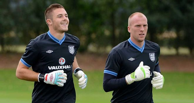 Jack Butland (left): In England training with John Ruddy and now rated at £18million by his club manager