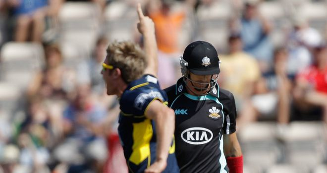 Liam Dawson celebrates after bowling Kevin Pietersen