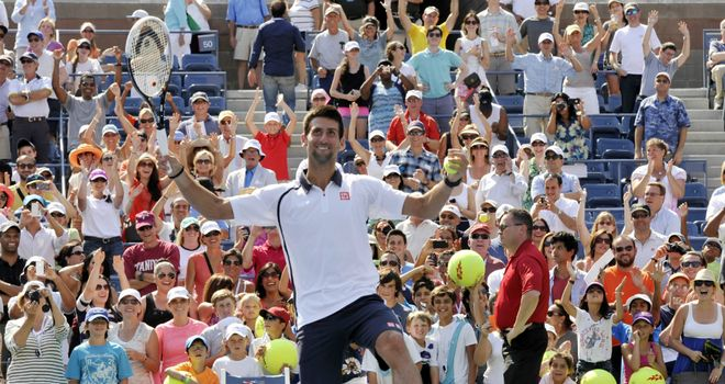 Novak Djokovic: won 90 per cent of points on his first serve against Rogerio Dutra Silva