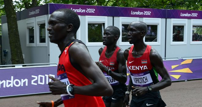 Stephen Kiprotich (L): Kept pace with the Kenyans before drawing away in the closing stages