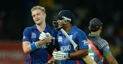 Luke Wright (left) is congratulated on his 99 not out by England team-mate Samit Patel