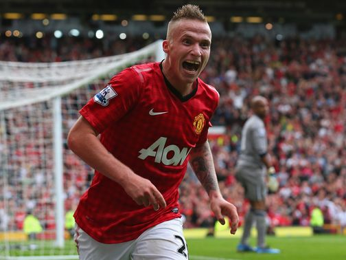 Alexander Buttner celebrates his goal for Man Utd