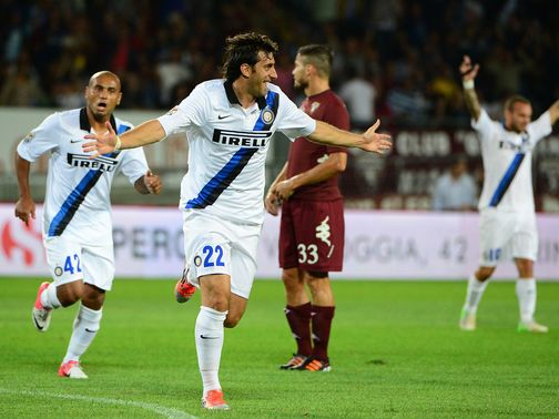 Diego Milito puts Inter Milan ahead