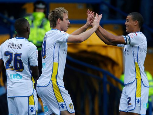 Leeds celebrate against Nottingham Forest