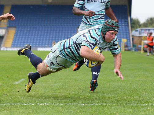 Thomas Waldrom scores Leicester's first try against London Welsh.