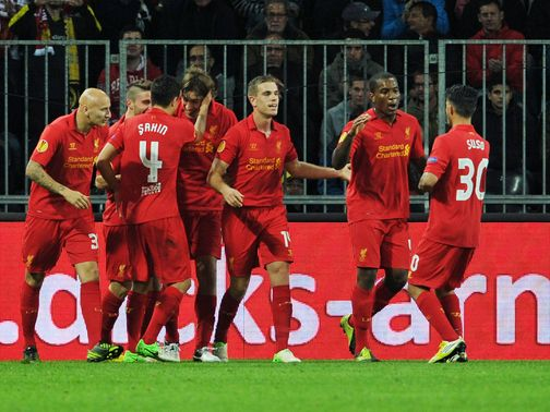 Liverpool celebrate their 5-3 win in Switzerland